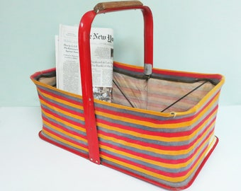 Vintage Fold-Away Shopping Basket, Striped Cotton Canvas & Red Metal, Retro Woolworth's Dime Store Style, Collapsible Folds Flat
