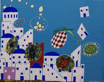 Greek island 1, islands, children's room decor, kids room wall art, wall art on canvas