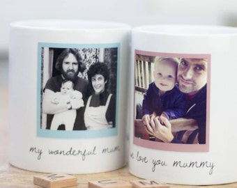 Personalised Photo Mug | Polaroid design | Birthday | Anniversary | Wedding | Christmas | Family | Gift for Her | for Him | Custom Drinkware