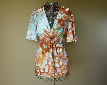 Brown Orange Green Tie Dye Blouse-Womens shirt top-Size Extra Large (XL)-Women's Clothing-Upcycled shirt