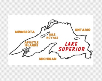 Lake Superior embroidery design file, multiple sizes, instant download