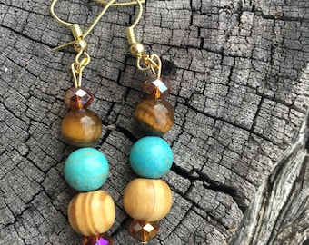 Turquoise, Tiger Eye, crystal, wood earrings