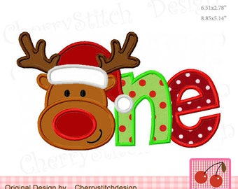 Christmas Reindeer ONE Machine embroidery applique design - for 4x4,5x7 and 6x10 hoop