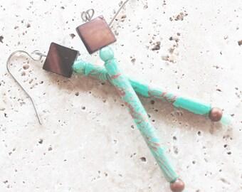 Stick earrings, dangle earrings, woodland earrings, hand painted jewelry, cottage chic earrings, feminine earrings, rustic earrings
