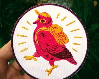 Purple Pigeon Embroidered Iron On Patch