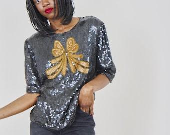 80s Black Sequin Silk Top