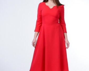 red dress,  pleated dress, maxi dress, fitted dress, summer dress, casual dress, ladies dresses, retro dress