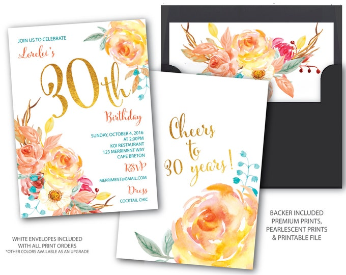 Fall 30 Birthday Invitation // Autumn Birthday Invitation // Boho Chick // Cheers to 30 years // Gold // Watercolor// CAPE BRETON COLLECTION