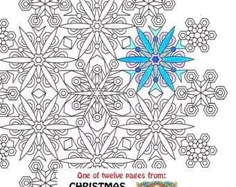 Snowflake Mandala coloring page Printable Winter coloring