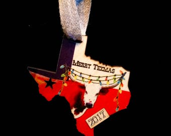Texas Flag Longhorn with Lights 2018 Christmas Ornament (updated image to follow!)