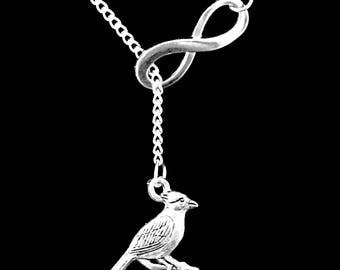 Gift For Her, Cardinal Necklace, Bird Necklace, Best Friend Gift, Sister Gift, Mother Gift Mama Bird Christmas Gift Infinity Lariat Necklace