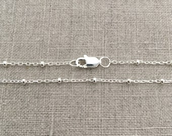 """16"""" Dew Drop Necklace Silver, Dainty Silver Necklace, 16 Inch Sterling Silver Satellite Necklace, Necklaces for Women, Satellite Chain, SD"""