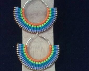 Thai Macrame Earrings, Waxed Cotton and Brass. 6 cm long