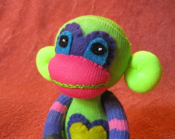 Swoosh - Best Friend Sock Monkey Plush - Purple Stripes Pink - Handmade Doll