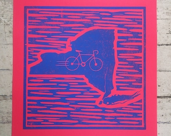 Bike New York - Original Linocut - Hand Printed