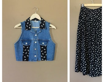 Two Piece Skirt Outfit/90s Outfit/90s hip hop clothing /80s outfit/Fresh Prince Outfit/Two Piece Outfit/90s Party Outfit