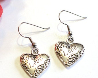 LOVE Scroll Heart Charm Earrings in Silver Alloy - Womens Jewelry - Valentine Hearts - Silver Charms Holiday Earrings