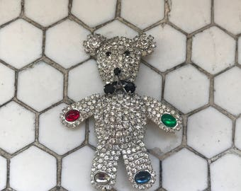 Fabulous 1980s Rhinestone Jeweled Teddy Bear Brooch