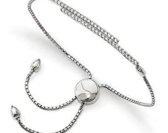 Custom Solid Sterling Silver Cubic Zirconia Adjustable Bolo Bracelet