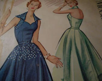 SALE Vintage 1950's McCall's 9508 Evening Dress Sewing Pattern Size 14 Bust 32