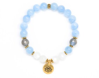 Aquamarine Mala Bracelet, Aquamarine Bracelet, Moonstone Mala Beads, Lotus Bracelet, Yoga Jewelry, Buddhist Jewelry