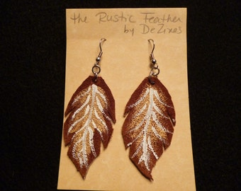 The 'Rustic Feather' Hand cut and Hand painted Suede Leather Dangle Earrings in Gold and White