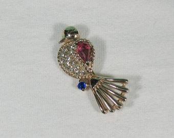 Rhinestone Bird Brooch - Signed Reja - Vintage 1940s