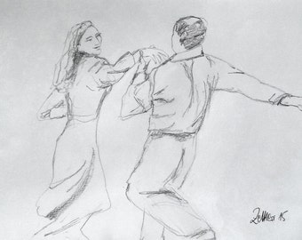 Couple dancing Tango, Pencil Drawing, Tango Dancer, Original Drawing