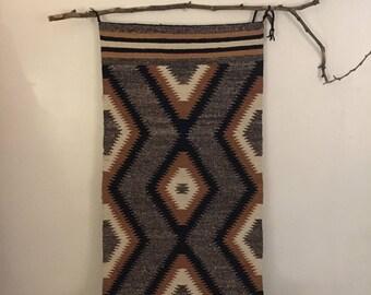 Navajo Rug Weaving - Hand Spun Ochre & Marl Zig Zag