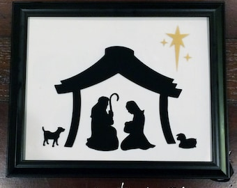 Nativity Scene Vinyl Lettering - fits perfect on 8 x 10 inch picture frame