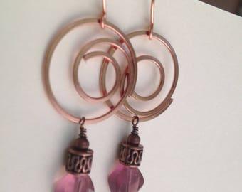 Purple and Copper Earrings, Amethyst Glass Long Dangle Earrings, Lavender Purple and Copper Spiral Earrings, Bright Copper Spiral Earrings