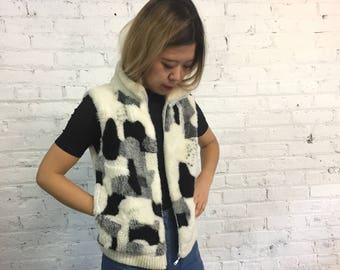 vintage patchwork print faux fur vest / vegan furry zip up vest / black white and grey fuzzy sleeveless ski vest