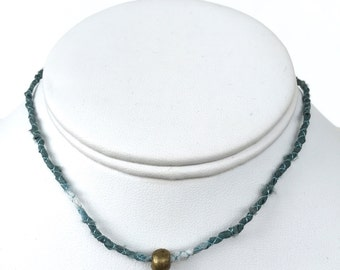 Teal-Gray Choker with Brass Bead. Fiber Jewelry. Fiber Necklace. Fabric Choker. Comfortable Choker. Gifts for Her. Textile Choker. Hand-Dyed