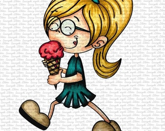 IMAGE #159 - ICE CREAM TIMe Digital Stamp by Sasayaki Glitter - Naz - both lineart and coloured versions