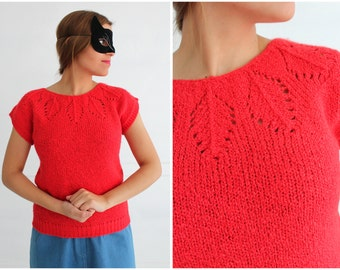 Vintage 1980s Poppy Red Cap Sleeve Sweater with Neck Embellishment by DHI | Small