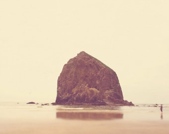 beach scape, photography, Cannon Beach photo, Haystack Rock, caramel brown, seaside Oregon, West Coast, water, travel print, earth tones PNW