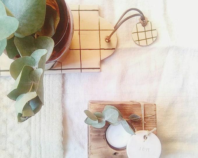 Cutting board ceramic tiles grid white black scandinavian minimalist