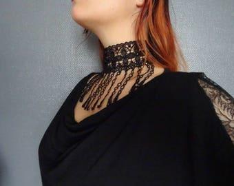 Hals-Choker Halskette Spitze Stickerei schwarz Swarovski Tops Venedig