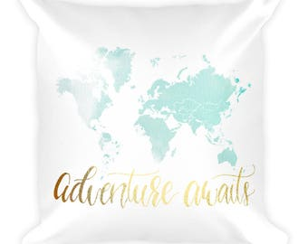 Travel Quote Pillow, Throw Pillow, World Map Pillow, Watercolor World Map, Decorative Pillow, Travel Gift, Travel Decor, Accent Pillow