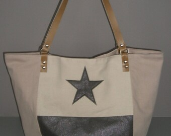 Glitter grey and beige tote bag
