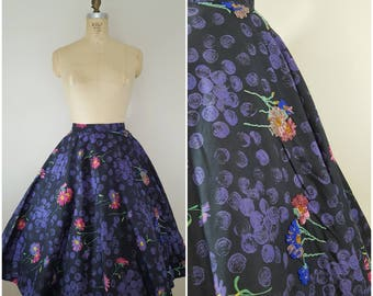 Vintage 1950s Circle Skirt / Beaded Black and Purple Floral / Small