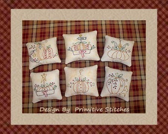 Pumpkin Mini Collection 1-Primitive Stitchery  E-PATTERN by Primitive Stitches-Instant Download