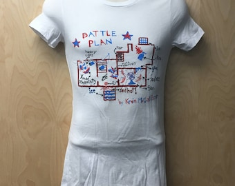 Battle Plan By Kevin McCallister T-Shirt Women's Christmas Movie Tee Shirt Wet Bandits Map House Blueprint Plans Xmas 90s Holiday Gift Idea