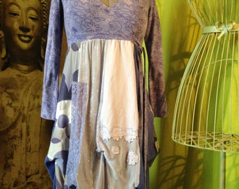 Shades of blue and lavender dress shabby T40