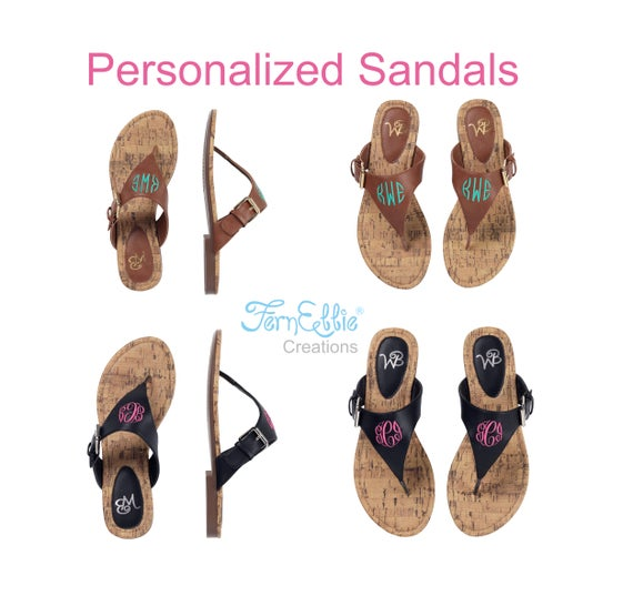 Personalized Sandals, Monogrammed Sandals, Momogram Sandals, Flip Flop