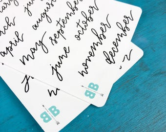 Months of the Year Bounce Lettering Planner Stickers