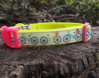 Dog Collar - Bikes with Baskets and Hi-Viz Pink Buckle