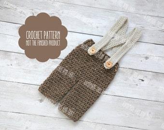 CROCHET PATTERN - Crochet newborn baby pants pattern, baby boy photo prop pattern, newborn pants pattenr, baby boy pattern, baby pattern