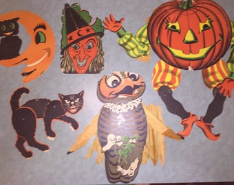 SALE Antique Halloweeen Decorations Articulated 1930s-50s Scaredy Cat Huge Moveable Jack 'O Lantern Witch Owl Cat in Crescent Moon