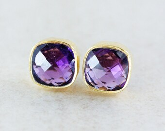 Gold Purple Amethyst Quartz Stud Earrings - Square Posts - Royal Purple